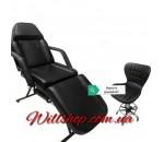 Косметологическая стационарная кушетка СН-202 + стул мастера A-871 черные